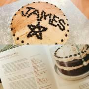 Chocolate Cake with Half Cake Coffee Buttercream & Half Malteser Buttercream